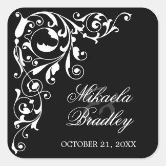 Stylish Black and White Swirls Wedding Seals Square Sticker