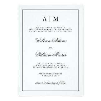 Stylish Black and White Wedding Invitation