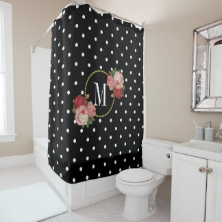 Stylish Black Antique Floral Polka Dots Monogram Shower Curtain