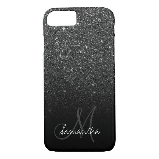 Stylish black glitter ombre block personalised iPhone 7 case