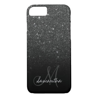 Stylish black glitter ombre block personalized iPhone 8/7 case