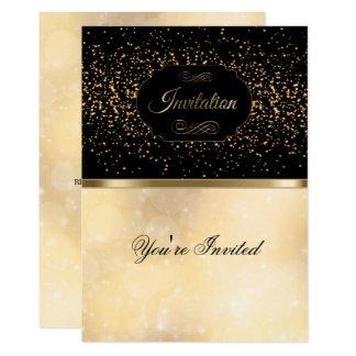 Stylish Black, Gold and Bokeh Invitation