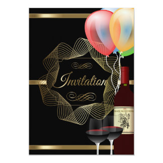 Stylish Black & Gold Party Event Template 13 Cm X 18 Cm Invitation Card