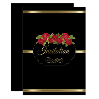Stylish Black & Gold & Red Roses Party Invitation