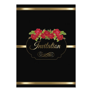Stylish Black & Gold & Red Roses Party Template 13 Cm X 18 Cm Invitation Card