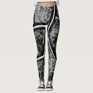 Stylish Black Gray Leaf Leggings