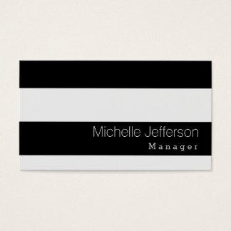 Stylish Black Gray Striped Pattern Business Card