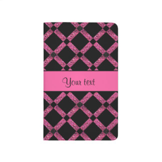 Stylish Black & Hot Pink Glitter Squares Journal