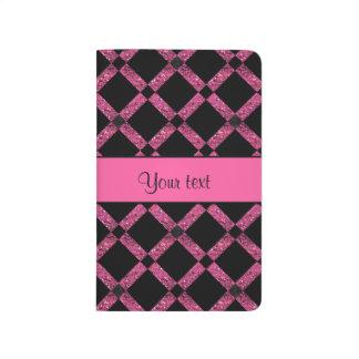 Stylish Black & Hot Pink Glitter Squares Journals