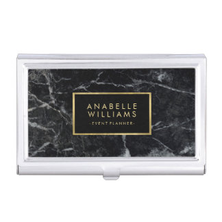 Stylish Black Marble and Faux Gold Foil Business Card Holder