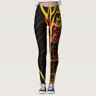 Stylish Black Orange Yellow Leaf Leggings