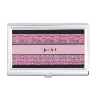Stylish Black & Pink Glitter Stripes Business Card Holder