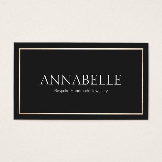 Stylish Black Professional Designer Gold Border Business Card