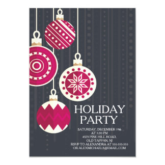 Stylish Black Red Christmas Balls Holiday Party Card