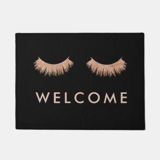Stylish Black Rose Gold Eyelashes Welcome Doormat