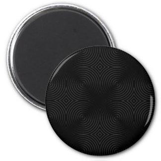 Stylish, black spirals design. 6 cm round magnet