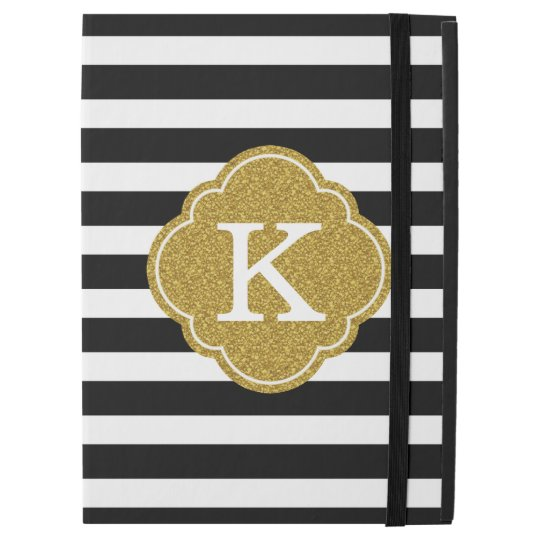 Stylish Black Stripes Gold Monogram