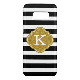 Stylish Black Stripes Gold Monogram Case-Mate Samsung Galaxy S8 Case