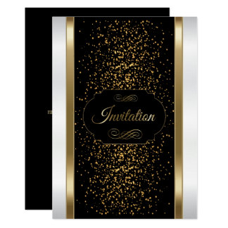 Stylish Black, White and Gold Invitation