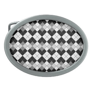 Stylish Black, White and Grey Argyle Pattern Belt Buckles