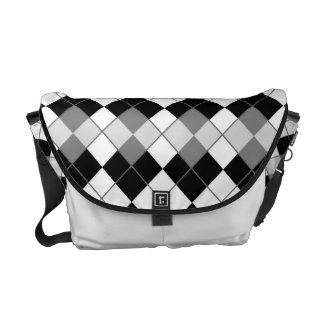 Stylish Black, White and Grey Argyle Pattern Courier Bag