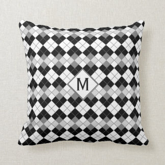 Stylish Black, White and Grey Argyle Pattern Cushion