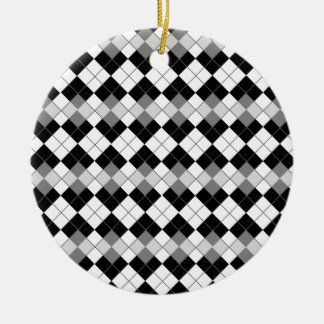 Stylish Black White and Grey Argyle Pattern Christmas Tree Ornaments