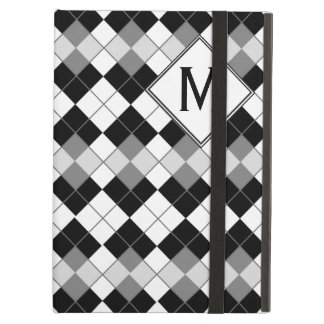 Stylish Black, White and Grey Argyle Pattern iPad Air Cover