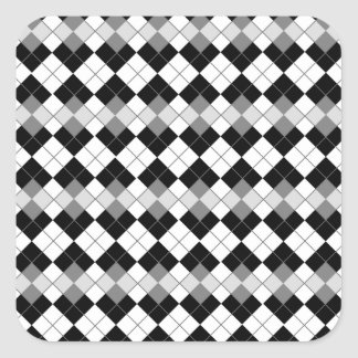 Stylish Black, White and Grey Argyle Pattern Square Sticker