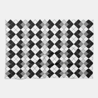 Stylish Black, White and Grey Argyle Pattern Tea Towel