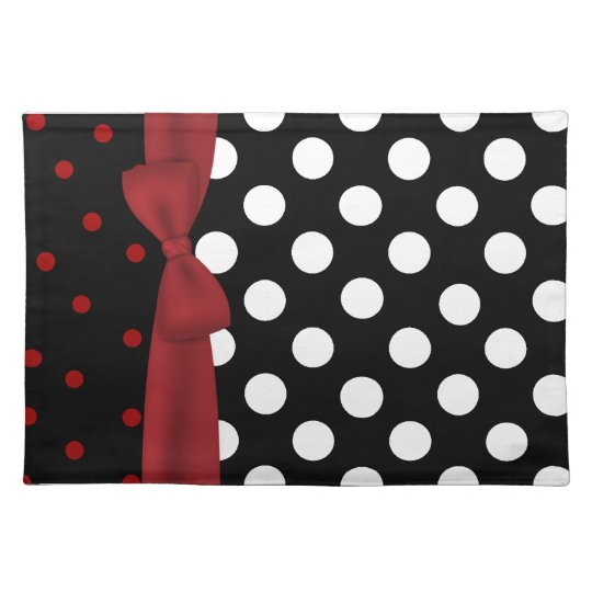 Stylish Black, White, and Red Polka Dot Place