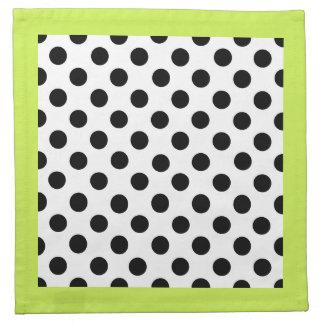 Stylish Black, White, & Chartreuse Polka Dot Napkin