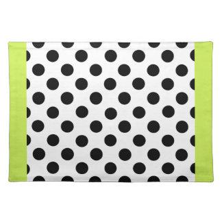 Stylish Black, White, & Chartreuse Polka Dot Place Mats