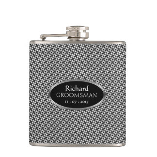 Stylish Black White Custom Design Groomsmen Gift Flask