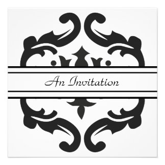 Stylish Black White Damask Custom Invitations