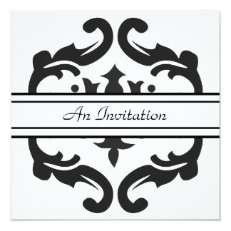 Stylish Black & White Damask Custom Invitations