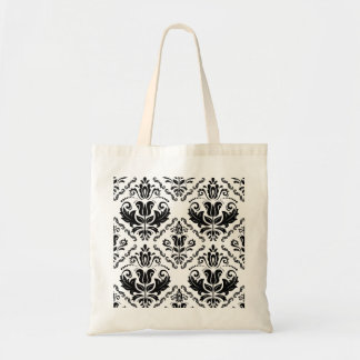 Stylish Black White Damask Decorate Pattern Budget Tote Bag