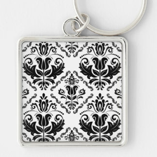Stylish Black White Damask Decorate Pattern Silver-Colored Square Key Ring