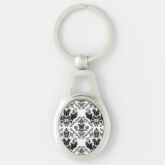 Stylish Black White Damask Decorate Pattern Silver-Colored Oval Key Ring