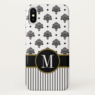 Stylish Black White Damask Dots Stripes Monogram iPhone X Case