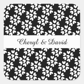 Stylish Black White Ditsy Love Hearts Wedding Square Sticker