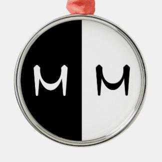 Stylish Black & White Double Initialed Monogram Christmas Ornament