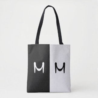 Stylish Black & White Double Initialed Monogram Tote Bag