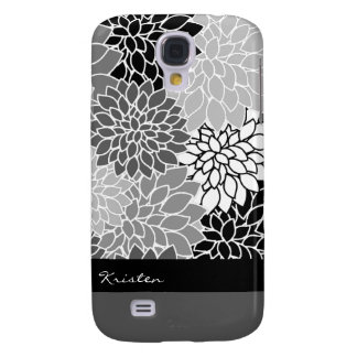 Stylish Black & White Floral Pattern Custom Galaxy S4 Case