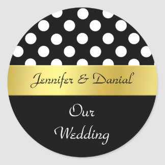 Stylish Black, White, & Gold Wedding Envelope Seal Round Sticker