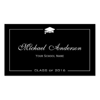 Stylish Black White Grad Cap Graduation Name Card Pack Of Standard Business Cards