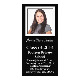 Stylish Black & White Graduate Photo Custom Photo Card