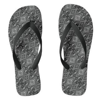 Stylish Black White Grey Pattern Flip Flops