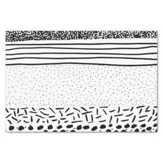 Stylish black white hand drawn polka dots stripes tissue paper