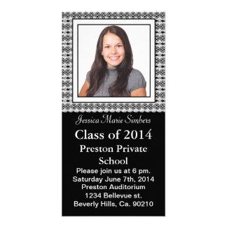 Stylish Black & White Lacy Graduate Photo Customized Photo Card